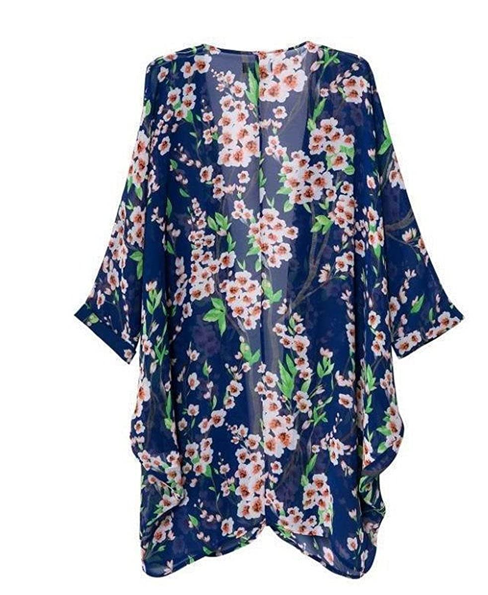 820b6e5a99956 Amazon.com: AELSON Women's Floral Chiffon Kimono Cardigan Blouse Beach  Cover up: Clothing