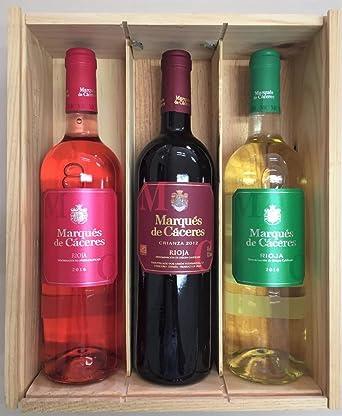 Caja de madera 3 botellas - Marques de Caceres - Vino Tinto Crianza / Vino Blanco Joven / Vino Rosado: Amazon.es: Alimentación y bebidas