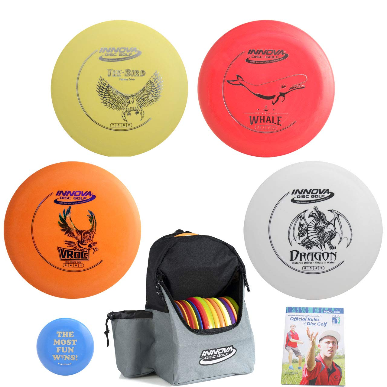 Innova Disc Golf Complete Gift Set Bundle - Discover Backpack Bag, 2 Drivers (One Floater), Mid-Range, Putter + Mini Marker Disc & Rules (7 Items) (Bag: Blue/Gray)