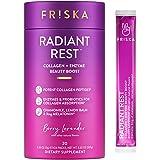 FRISKA Radiant Rest Collagen Peptides, Melatonin, Probiotics and Digestive Enzymes Powder Supplement for Women | Sleep Aid an