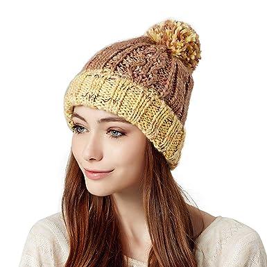 e338b766527 Kenmont Winter Women Lady Girl Acrylic Hand Knit Beanie Hat Earflap Hat  (Cream)  Amazon.co.uk  Clothing