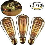 LEORX Edison Lampe ST64 220-240V 40W 140lm E27 Edison Ampoule Antique Lampe Blanc chaud- 3 Pack