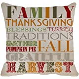 Leaveland Pillow Case Family Thanksgiving Blessings Turkey Traditions Gather Pumpkin Pai Fall Grateful Harvest Printable Home Decor Linkwell Throw Pillowcase Pillow Cover (20x20inch)