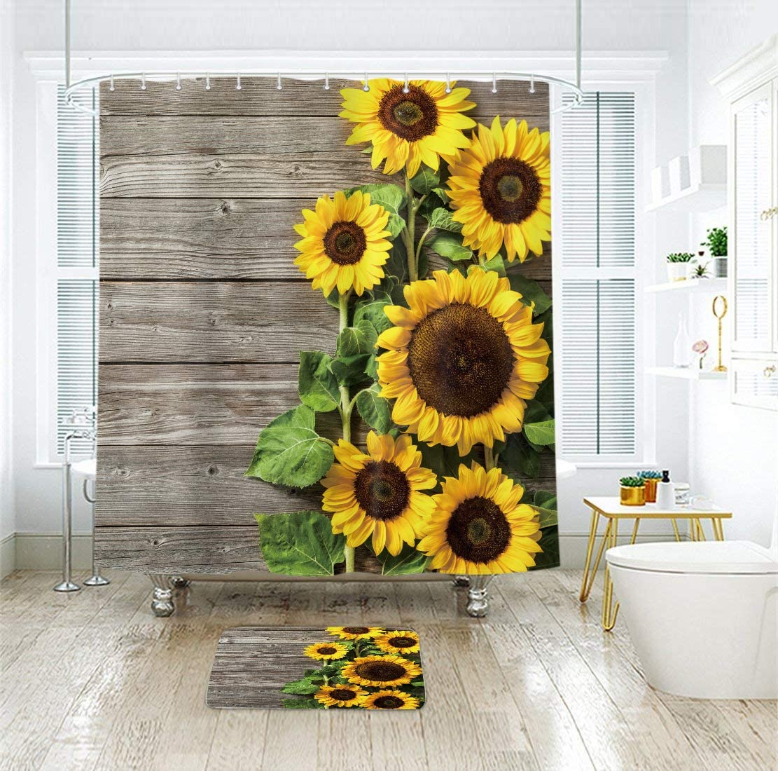 Sunflower Shower Curtain Wood Rustic Floral Spring Blooming Flower Bath Curtains