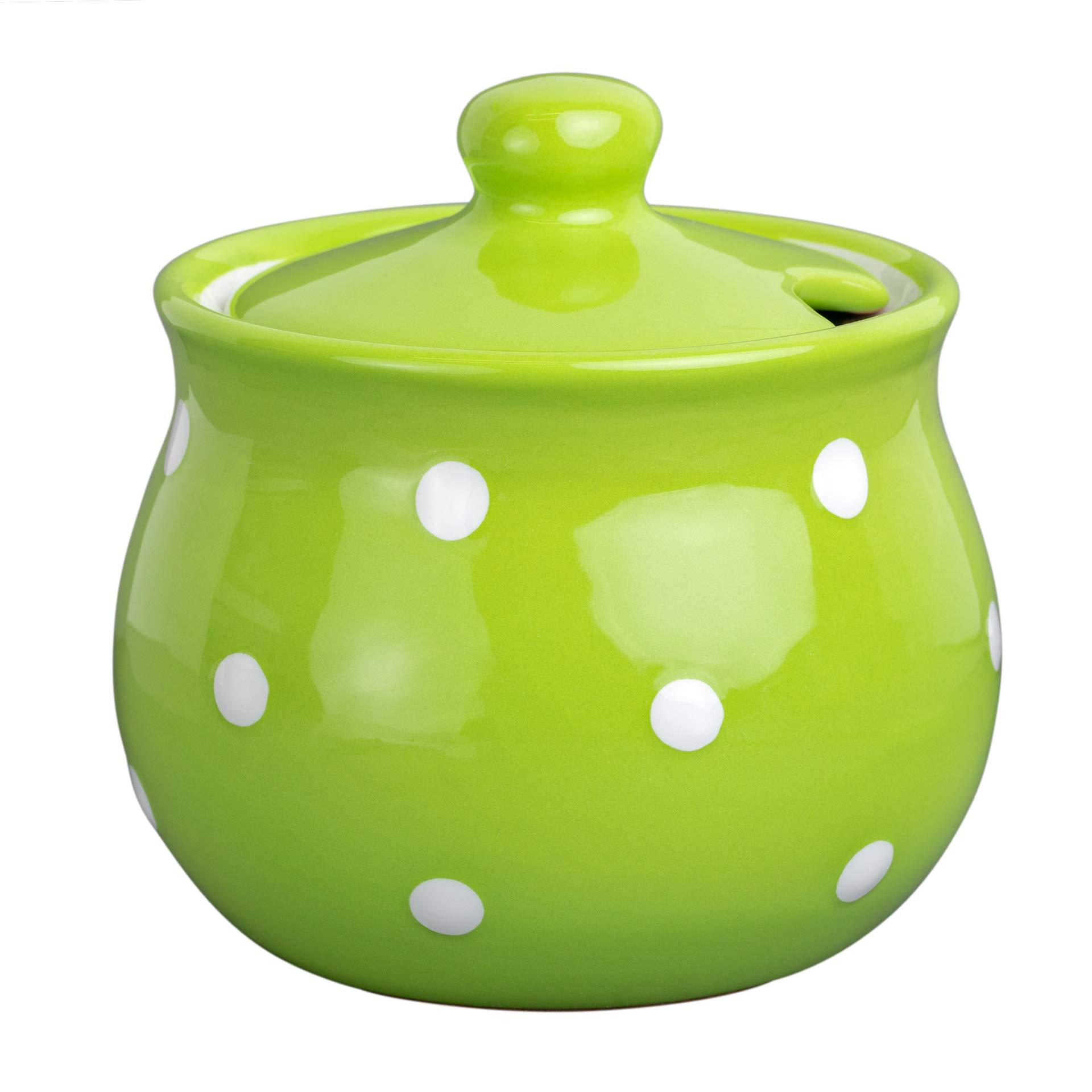City to Cottage Handmade Lime Green and White Polka Dot Ceramic Sugar Bowl, Pot with Lid   Pottery Honey Jar, Jam Jar   Housewarming Gift