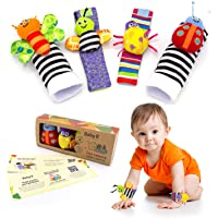 BABY K Wrist and Foot Rattle Socks (Butterfly Bugs Set A2) - Newborn Toys for Baby Boy or Girl - Brain Development…