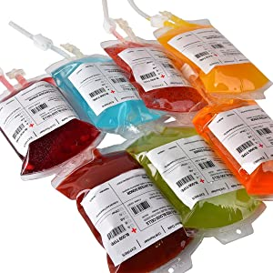 Amazlab Halloween Party Cups, Live Blood of Theme Parties- Bulk Packs IV Blood Bag Drink Containers 11.5 FL Oz, Vampire/ Hospital/Halloween Theme Party Favors, Nurse Graduation Party Props, Set of 10