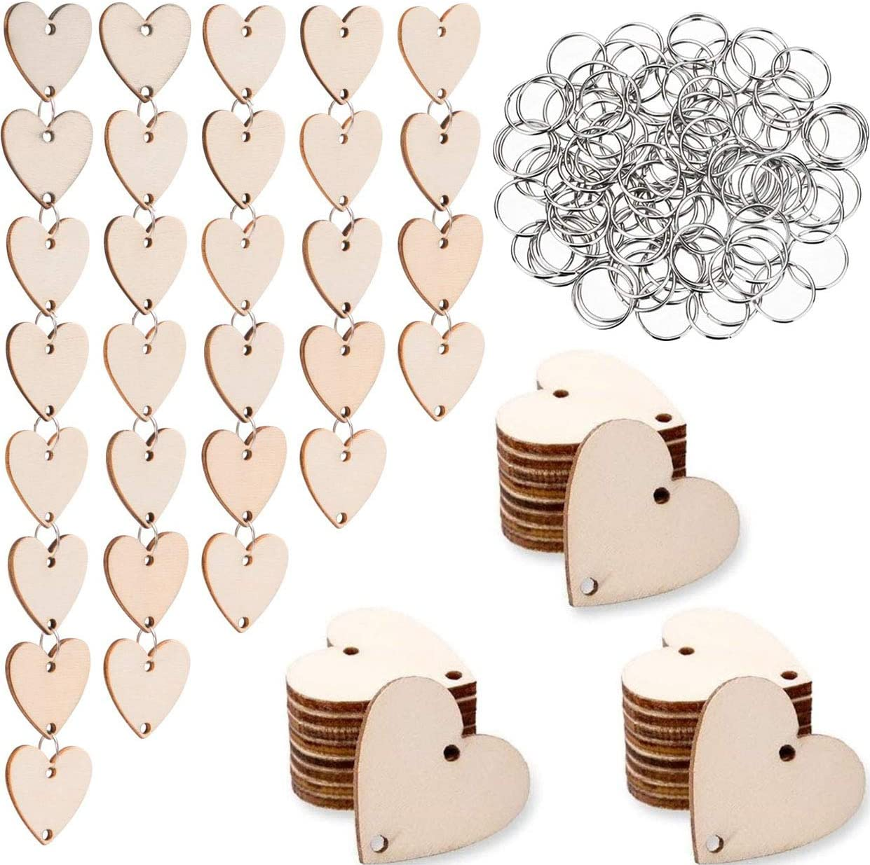 100 Pieces Round Wooden Discs with Holes Birthday Board Tags and 100 Pieces