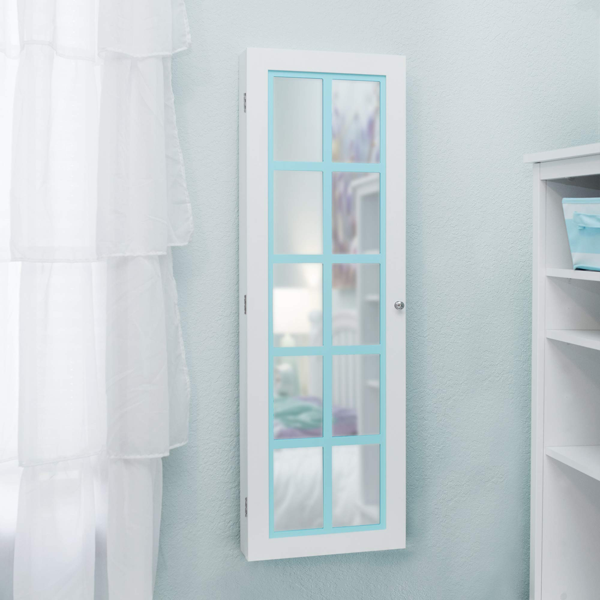 FirsTime & Co. 81005 Aqua Pastel Jewelry Armoire Accent Wall Mirror, 43'' x 14'' x 3.5'', White by FirsTime & Co.