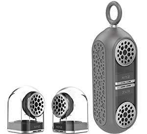 KNZ GoDuo Portable Bluetooth Speakers with Magnetic Connectable Base, L/R True Stereo Sound and Bass, Water and Shock Resistant, 18 hr playtime, Built-in Mic, Protective Carrying Case Included (Grey)