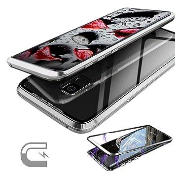 Funda Adsorción Magnética para Samsung Galaxy S9 Plus S9+ Automático Imanes Cerca Cubierta Ultrafina Dura Trasera en Vidrio Templado Transparente con ...