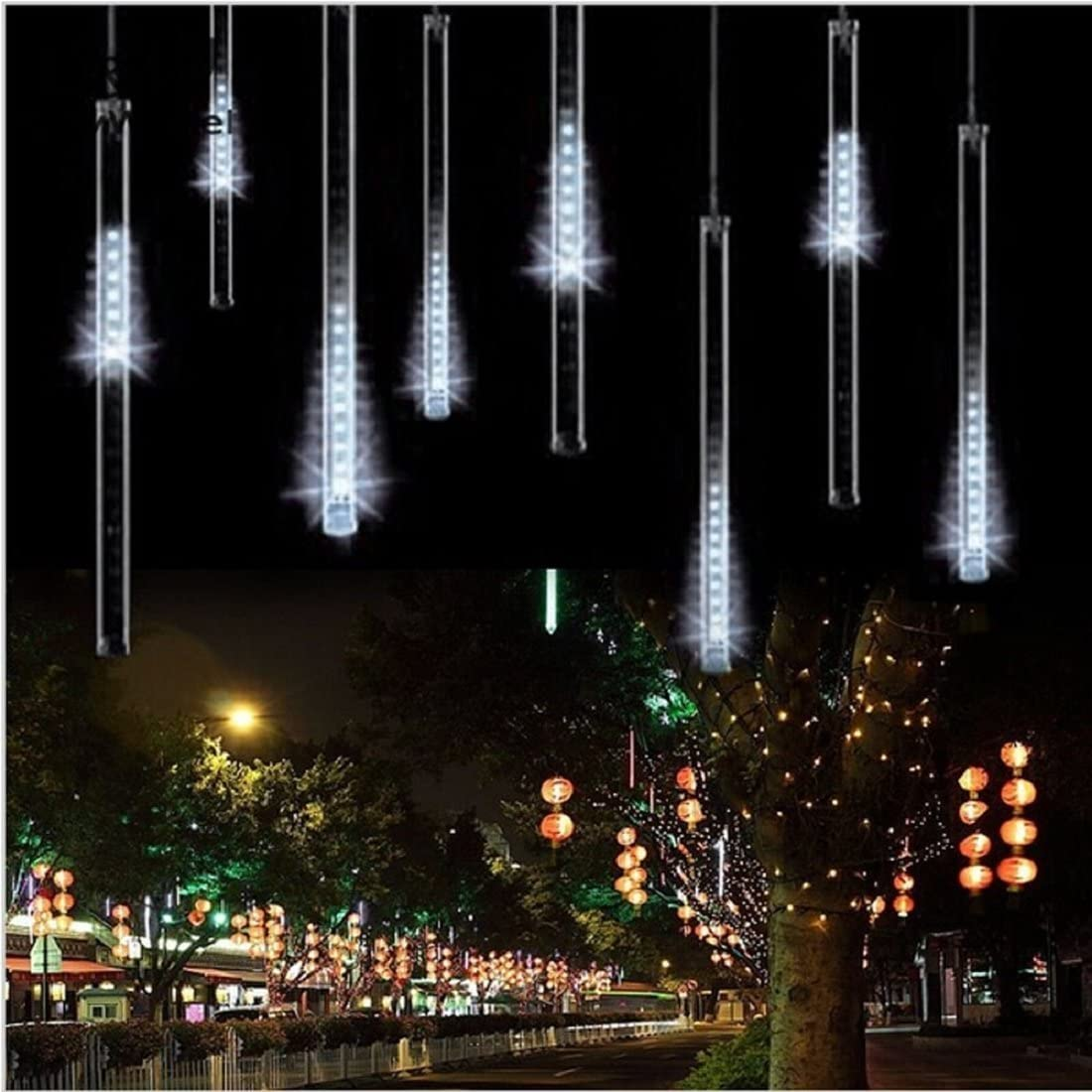 Aukora Rain Drop Lights, LED Meteor Shower Lights 11.8 inch 8 Tubes 144leds, Icicle Snow Falling Lights for Xmas Wedding Party Holiday Garden Tree Christmas Thanksgiving Decoration Outdoor (White)