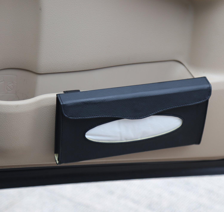 XQK Car Sun Visor Tissue Box Aufbewahrungsbeh/älter f/ür Ledergewebe schwarz-beige Auto Visier Tissue Holder mit R/ückenclip f/ür Autozubeh/ör Beige