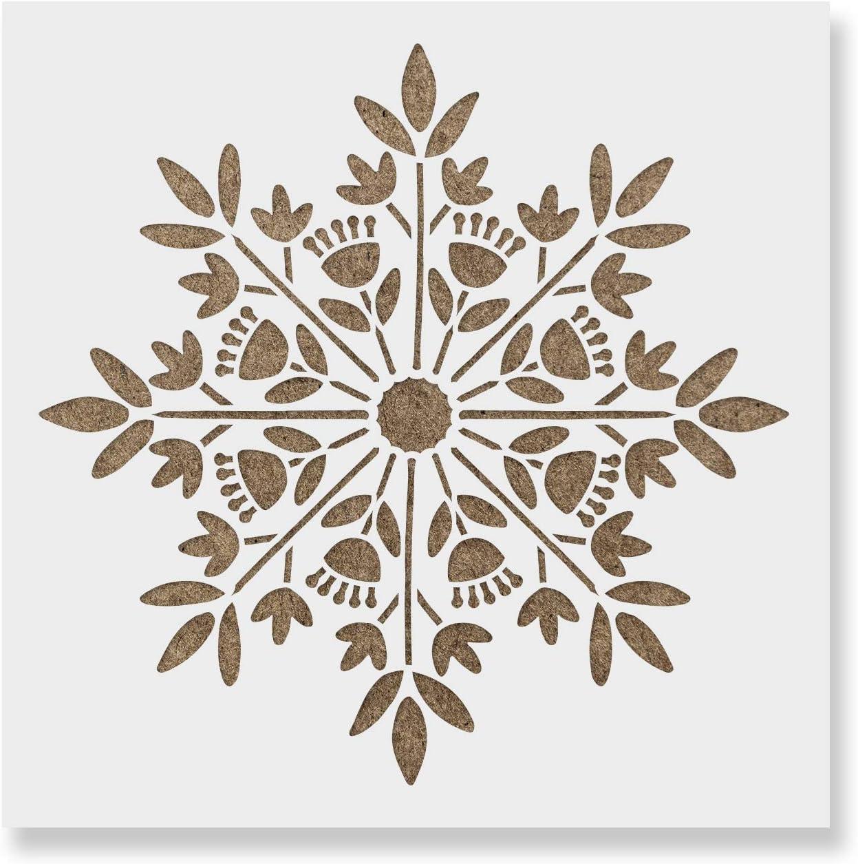 Scandinavian Snowflake Stencil - Reusable Stencils for Painting - Create DIY Scandinavian Snowflake Home Decor