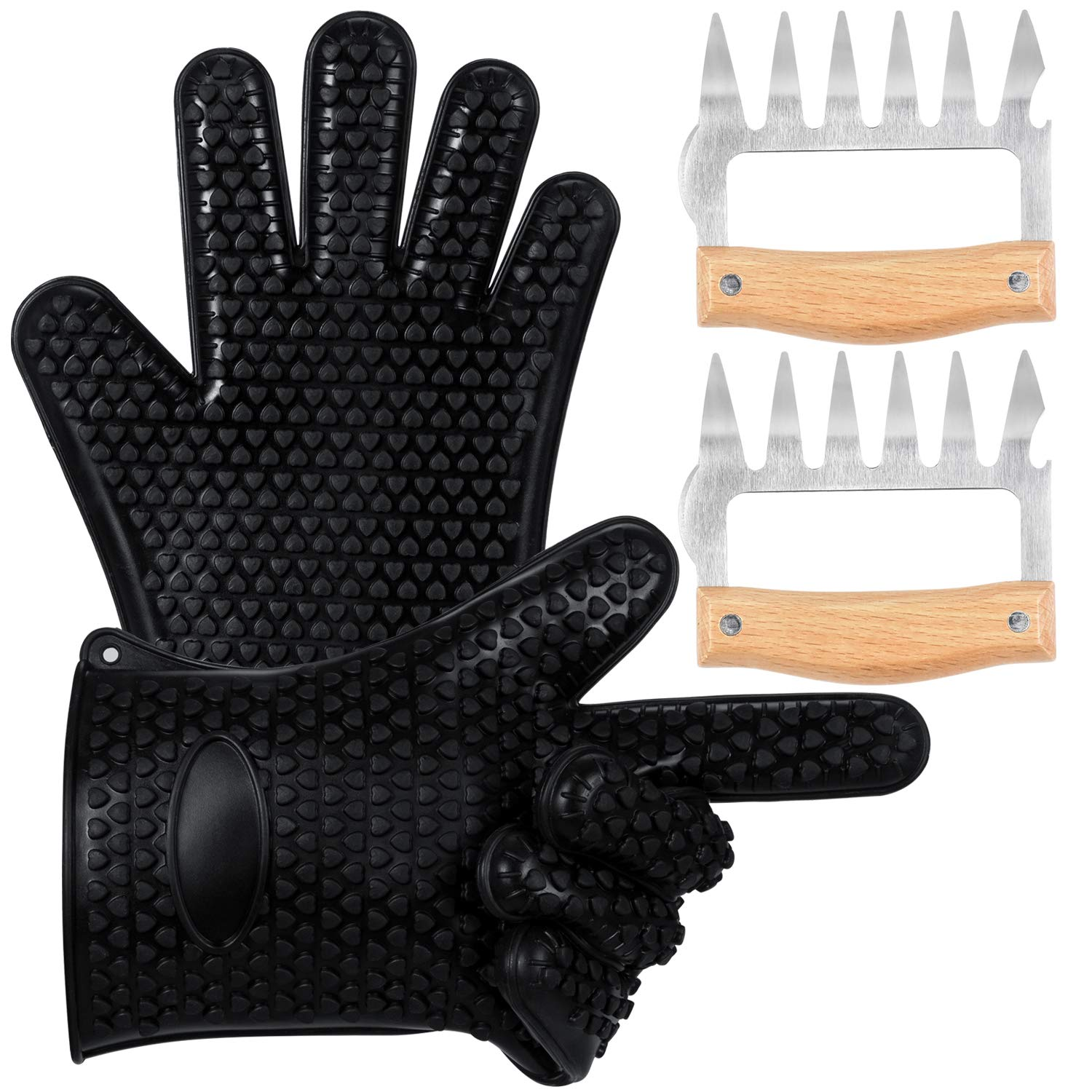 TyhoTech Silicone BBQ Gloves, Heat Resistant Grilling Oven Cooking Gloves Mitts Set with Stainless Steel Meat Shredder, Superior Value Premium Set for Cooking, Grilling, Baking, Barbecue (Black)