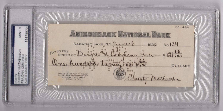 Christy Mathewson Autographed Signed Check Memorabilia PSA/DNA Mint 9