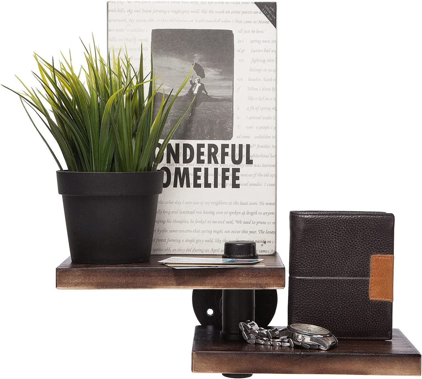 Floating Shelves for Wall, HAIPUSEN Rustic Wood Plant Book Shelf Home Decorations for Living Room Bedroom Bathroom Kitchen Office Storage