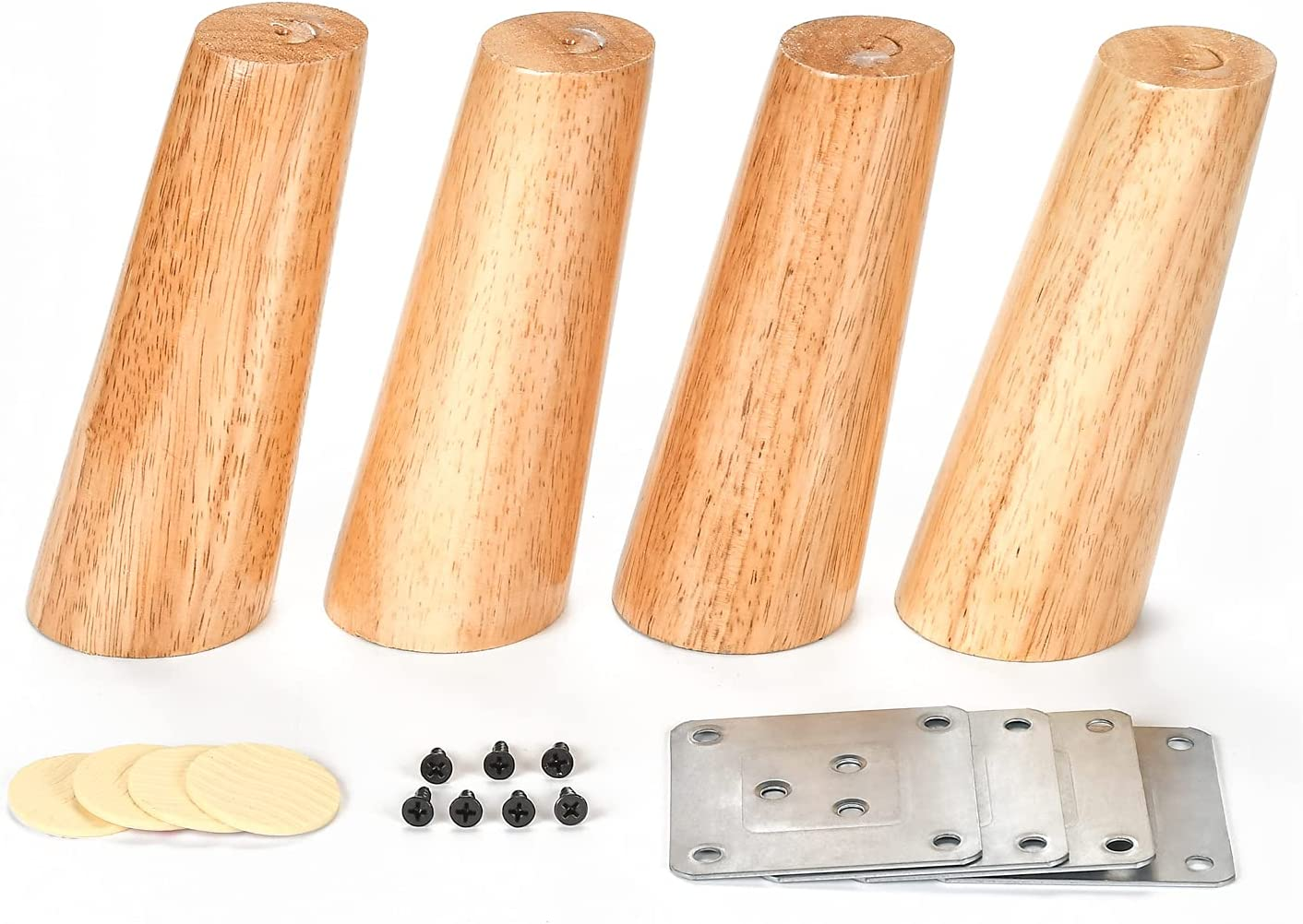 4 Pack Oblique Tapered Furniture Legs 6 Inch High (15cm) Cabinet Legs Solid Wood Sofa Legs Couch Legs Hardware Furniture Wood Legs for Bed Desk Table with Stainless Plates