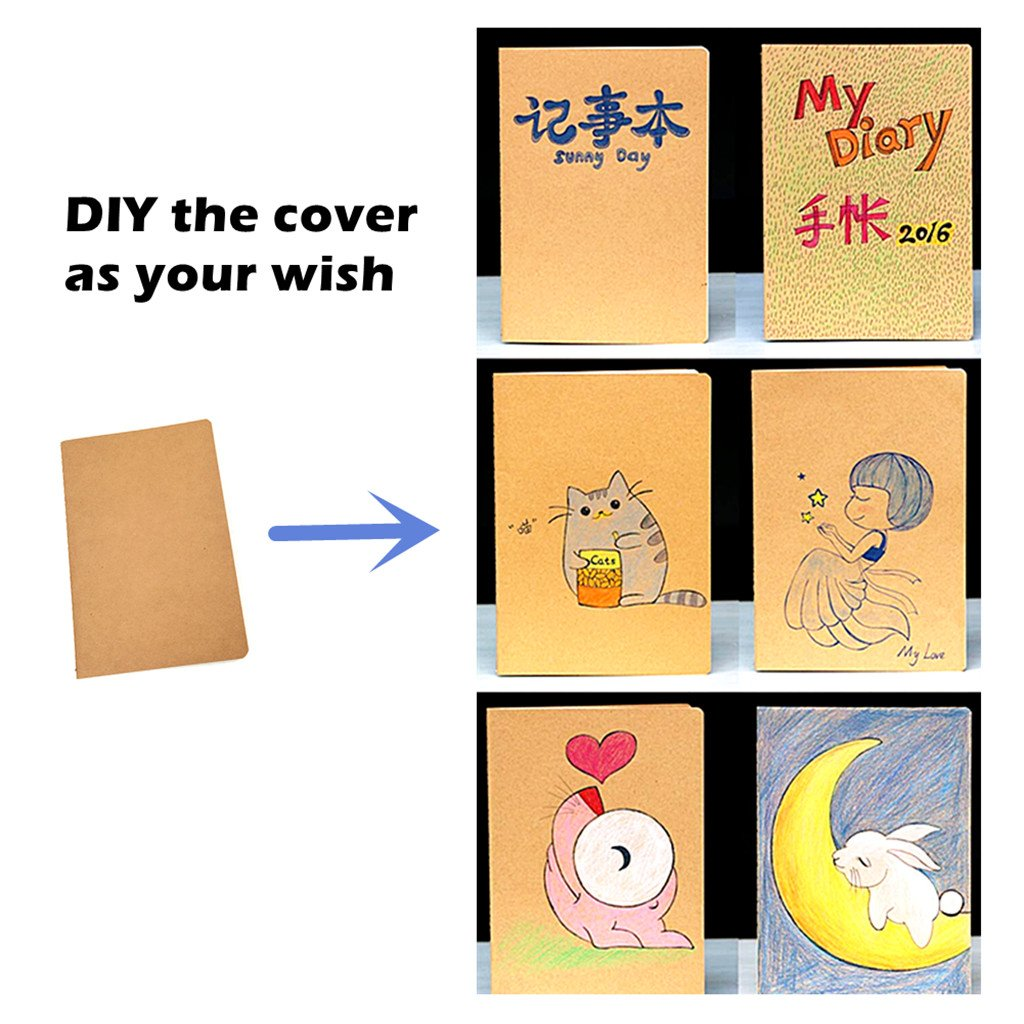 6pcs Travelers' Notebook Thread-bound Journal Diary Memo Pad,A5 Size & 30 sheets(Ruled Pages) by Alimitopia (Image #4)