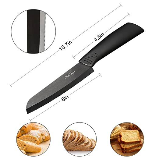 BELLESTYLE Cuchillos de Cerámica Set 4 Piezas Cuchillos de Cocina(6 cuchillo de pan, 6Chef cuchillo, 5 utilidad/cortar, 4 cuchillo de fruta) ...