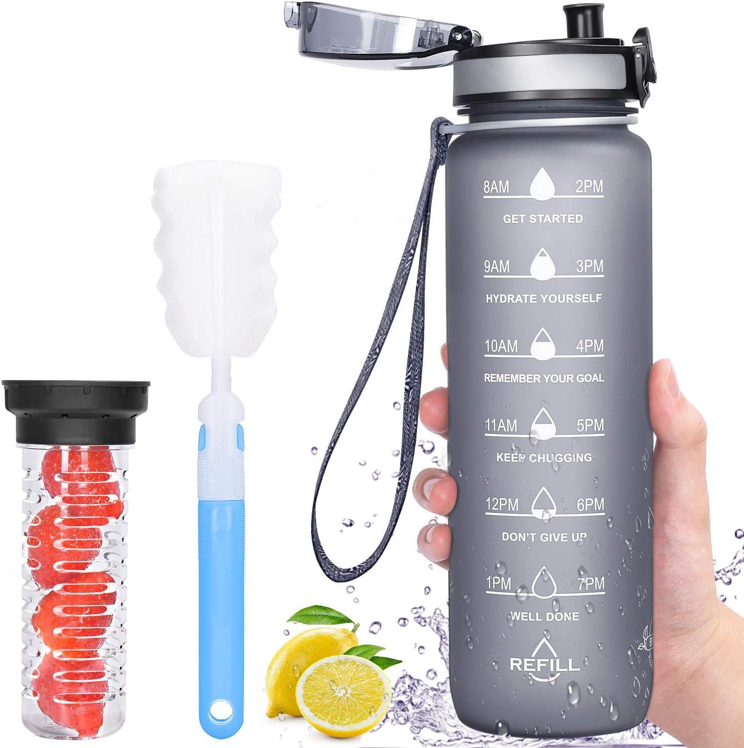 Filtro de infusor de Frutas y Cepillo de Limpieza pl/ástico Tritan sin BPA Favofit 1 Litro Botella de Agua Deportiva con Marcador de Tiempo Motivacional a Prueba de Fugas