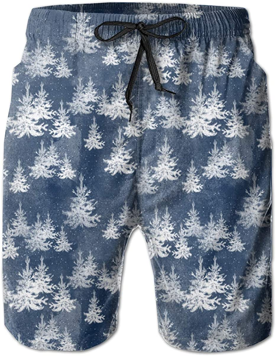 FASUWAVE Mens Swim Trunks ChristmasPine Forest Navy Quick Dry Beach Board Shorts with Mesh Lining