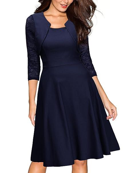 Miusol Casual Encaje Contraste Slim Vestido Corto para Mujer Azul Small