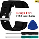 Taslar Adjustable Replacement Wristband for Fitbit Surge Large (Black)