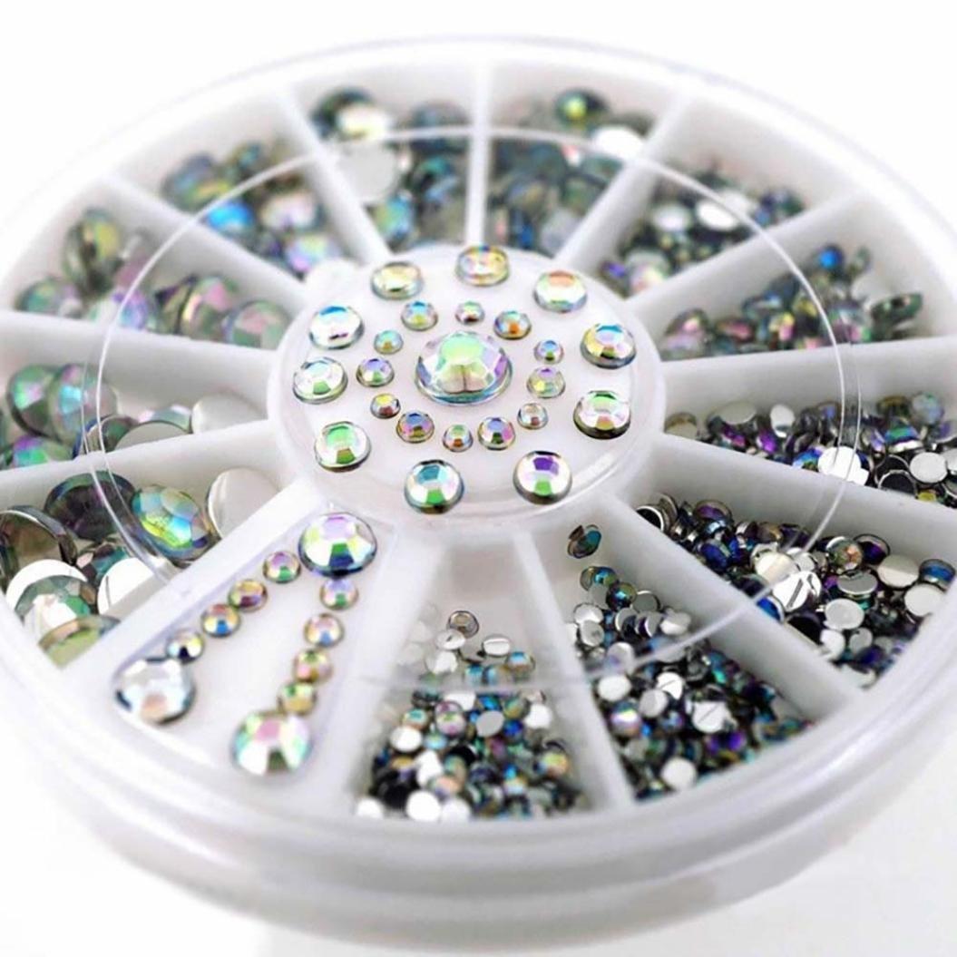 Dolloress Nail Tips⭐Colorful Nail Artificial Diamonds Dazzling Nail Sticker Tips Sequins Nail Art Decoration