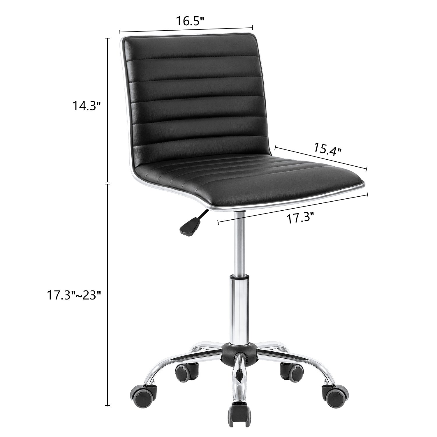Homall Swivel Task Chair Desk Chair, Leather Vanity Computer Office Chair Rolling Adjustable Conference Chair Ribbed and Armless Chair Makeup Chair with Back Support(Black) by Homall (Image #3)