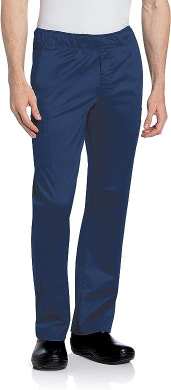 Landau Men's Standard Comfortable Elastic Waist Stretch Cargo Scrub Pant Uniform, Navy, Large