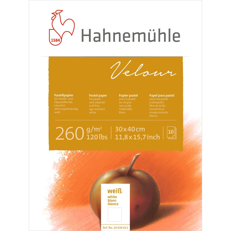Pastellpapier Velour Block weiß 260g/m², 30x40cm, 10Blatt Hahnemühle