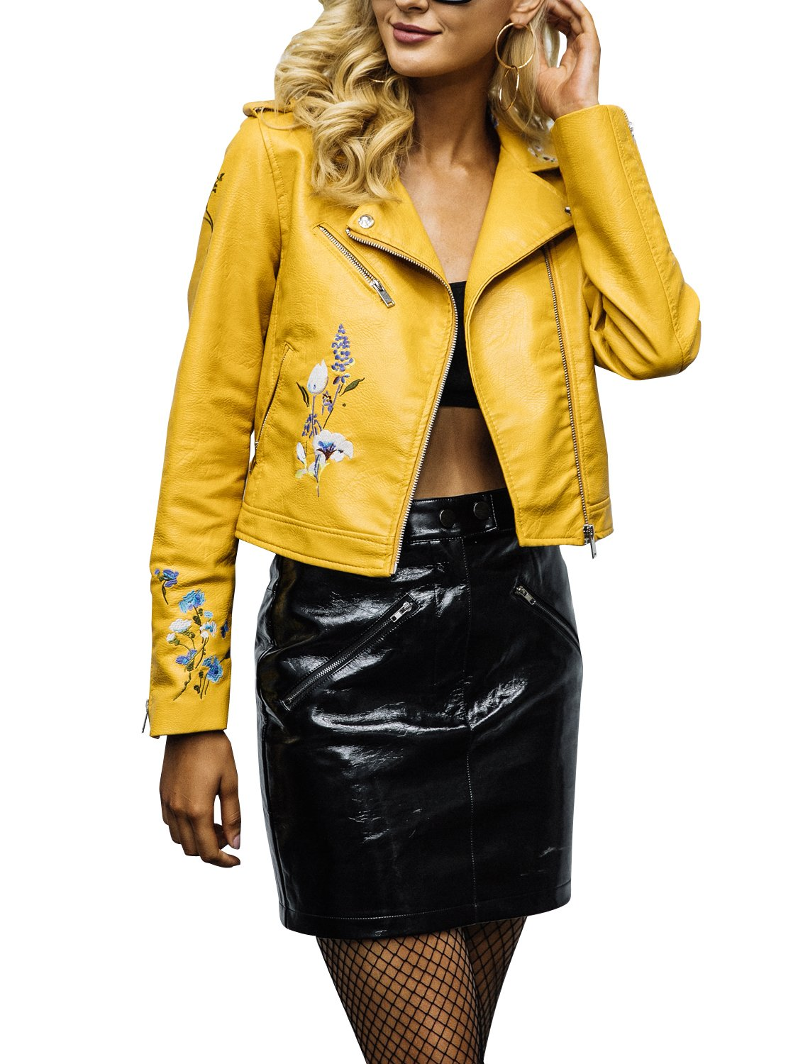 Glamaker Women's Embroidery Moto Short Faux leatherjacket Slim Floral Jackets Coat With Long Sleeves Yellow