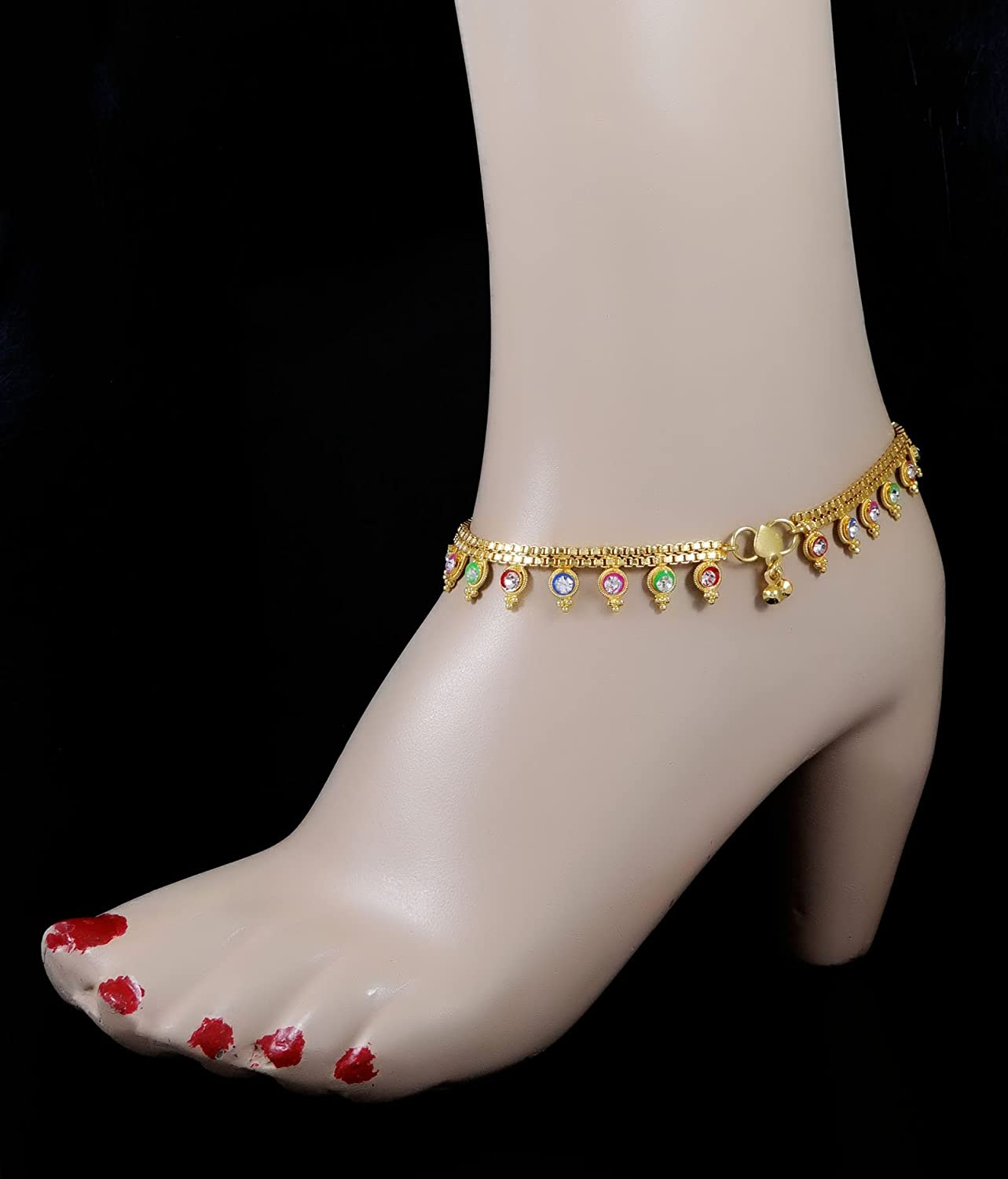 Banithani Traditional Gold Tone Designer CZ Stone Bridal Anklet Jewelry Gift For Women