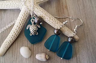 product image for Handmade in Hawaii, teal blue sea glass Necklace+Earrings Set, Freshwater pearl, sea turtle charm, sea glass jewelry (Hawaii Gift Wrapped, Customizable Gift Message)
