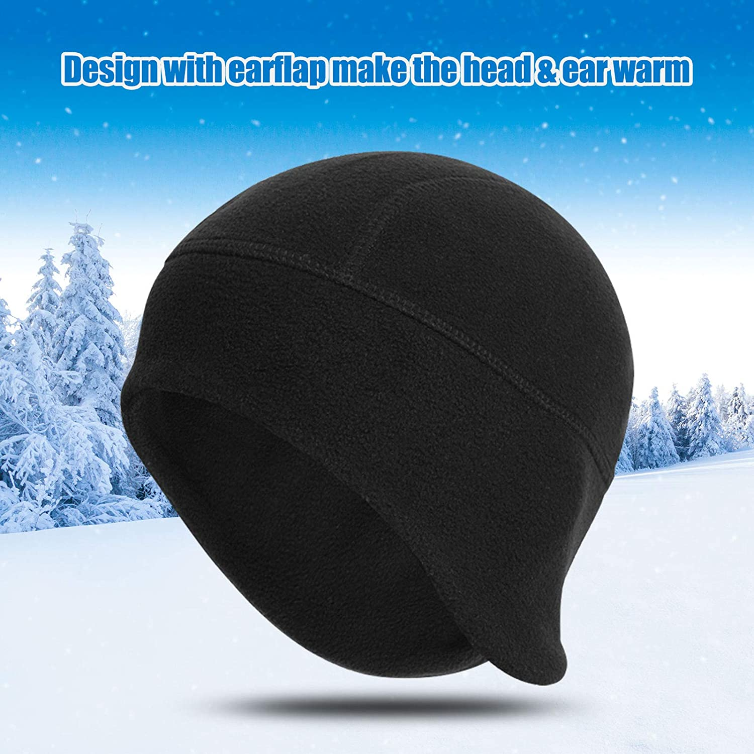 Sport Beanie Hat with Ear Covers for Men Women Running Skiing /& Winter Sports-Perfect Under Motorcycle Helmets,Hard Hat Cushion QKURT Winter Cycling Skull Cap