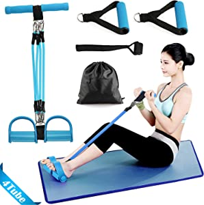 Oneyi Pedal Resistance Band - Fitness Elastic Pull Rope for Abdomen,Waist,Arm,Leg Stretching Training - 4-Tube Natural Latex Sit-up Equipment for Home Workouts