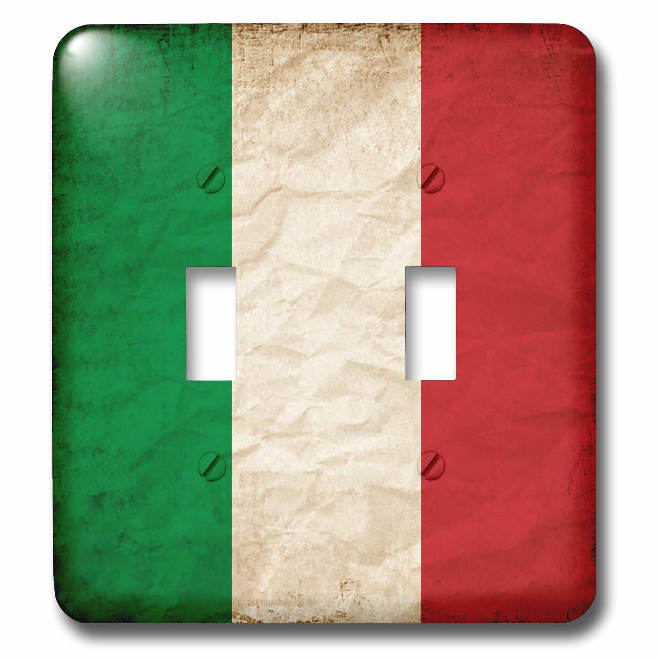 3dRose Sven Herkenrath Flags - Italian Flag Old Look Trendy Work - Light Switch Covers - double toggle switch (lsp_255823_2)