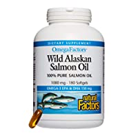 Omega Factors by Natural Factors, Wild Alaskan Salmon Oil, Supports Heart and Brain...