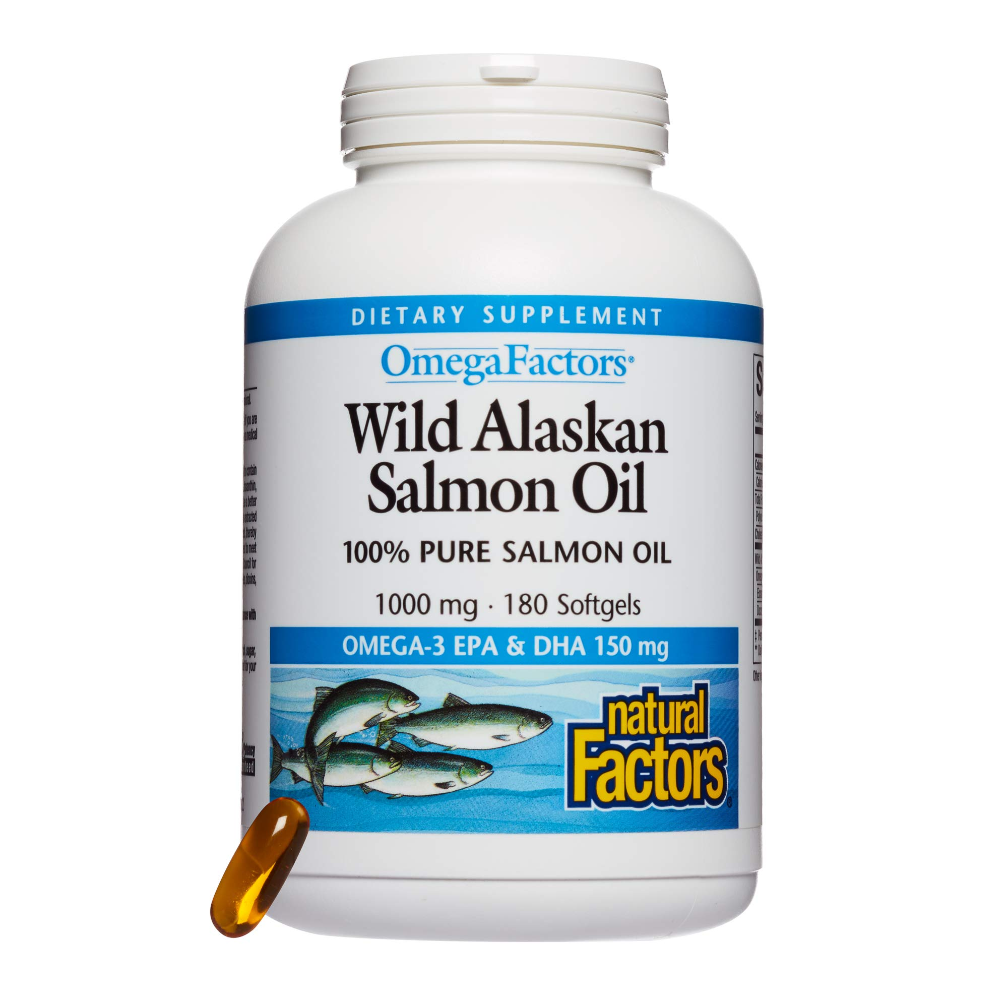 Omega Factors by Natural Factors, Wild Alaskan Salmon Oil, Supports Heart and Brain Health with Omega-3 DHA and EPA, 180 softgels (180 servings)