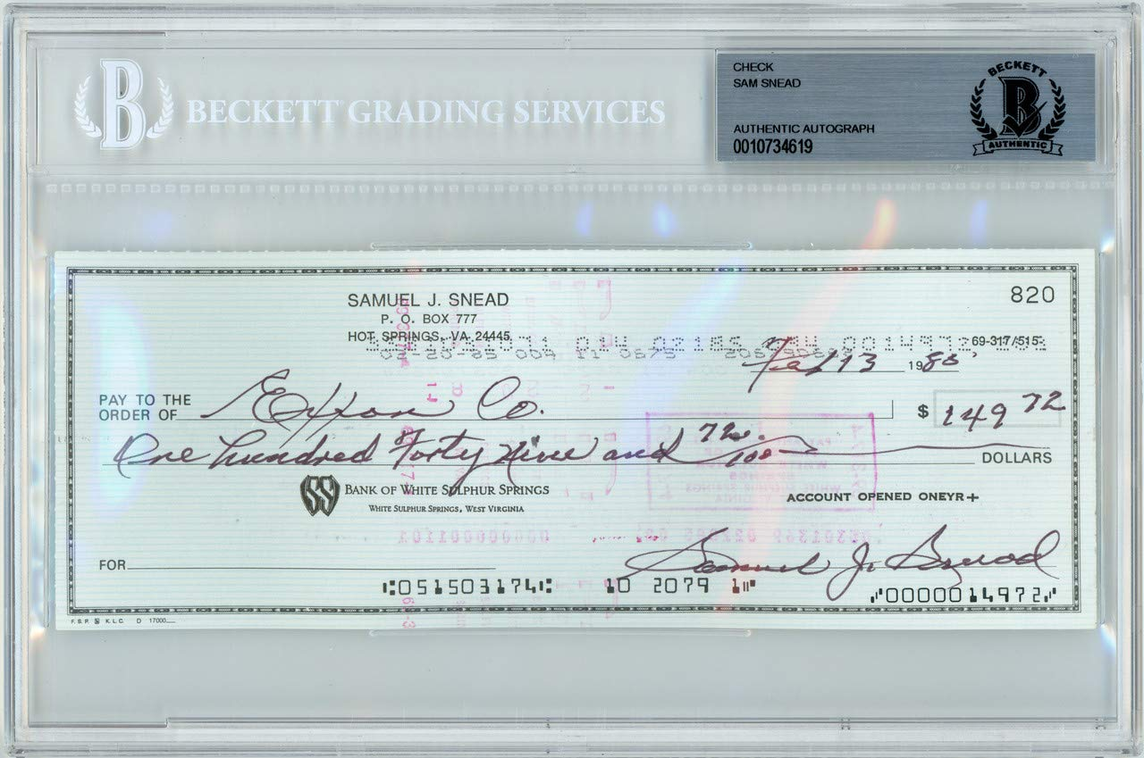 Sam Snead Autographed Signed 3x8 Check Autographed Signed In Black Memorabilia Beckett Authentic