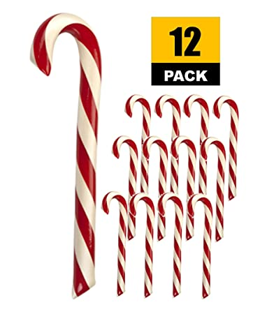 Giant Candy Canes, Peppermint Holiday Candy (12pk) Christmas Hard Candy by  Hammond's