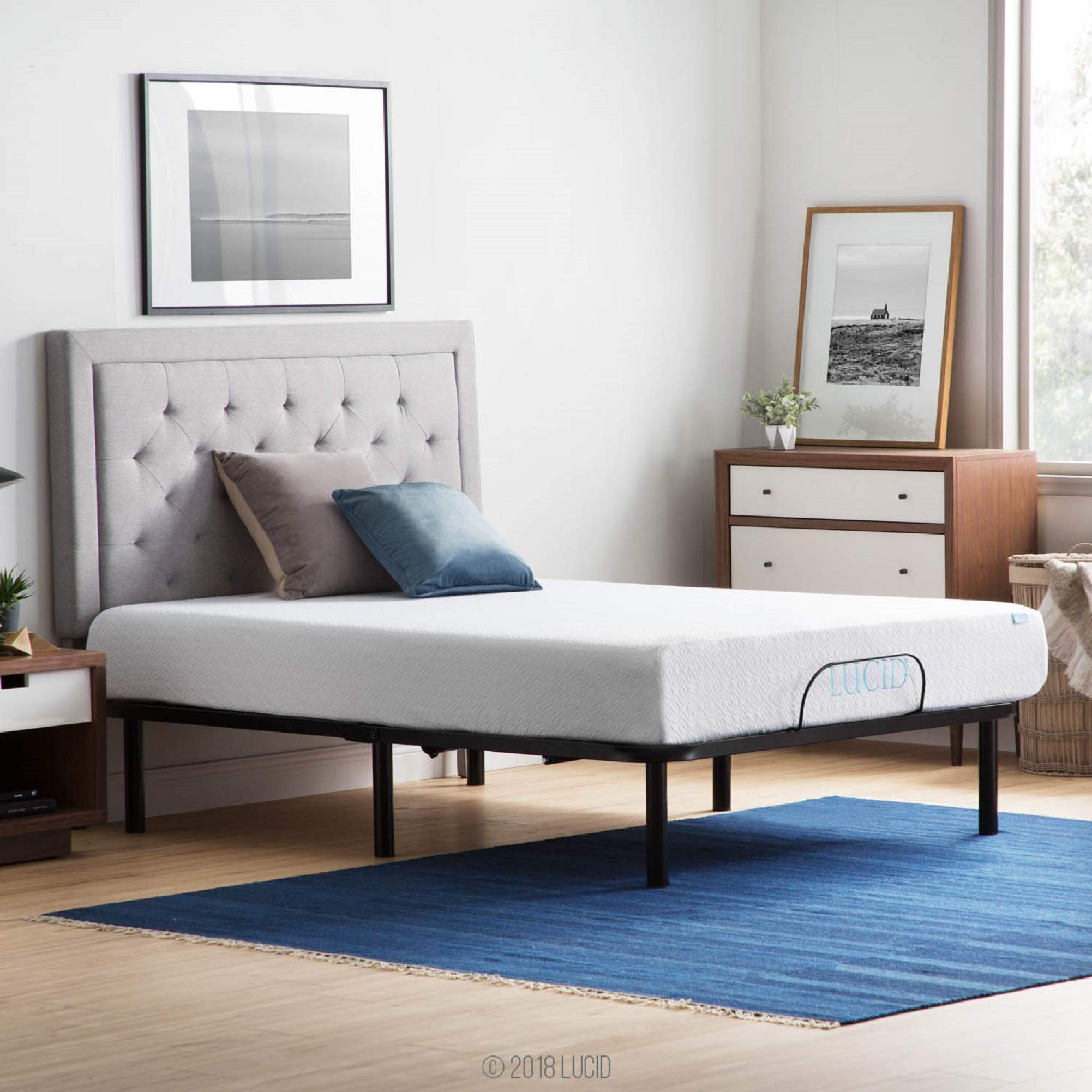 LUCID L100 Adjustable Bed Base with Lucid 10 Inch Gel Memory Foam Mattress - Queen by LUCID