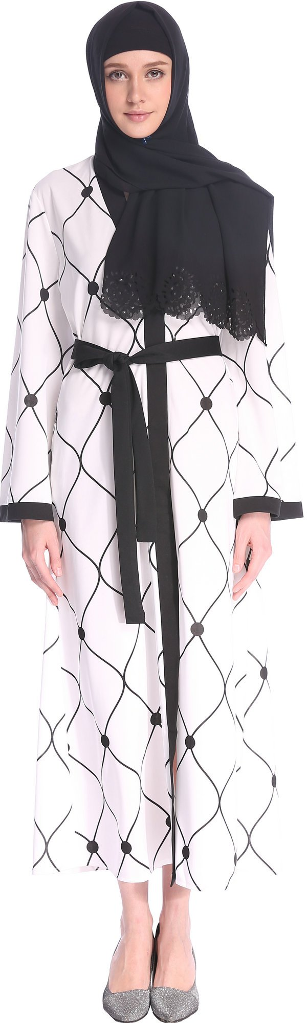 YI HENG MEI Women's Elegant Open Front Full Length Muslim Islamic Maxi with Mesh Pattern,White,M