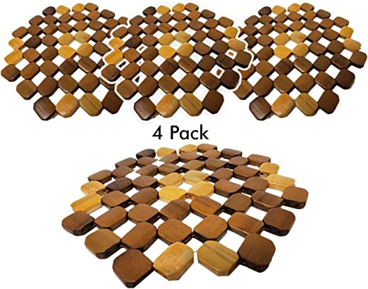 Salvamanteles de bambú para platos calientes (paquete de 4), protector de mesa, posavasos para té caliente o cafetera, platos y sartenes (8 pulgadas): Amazon.es: Hogar