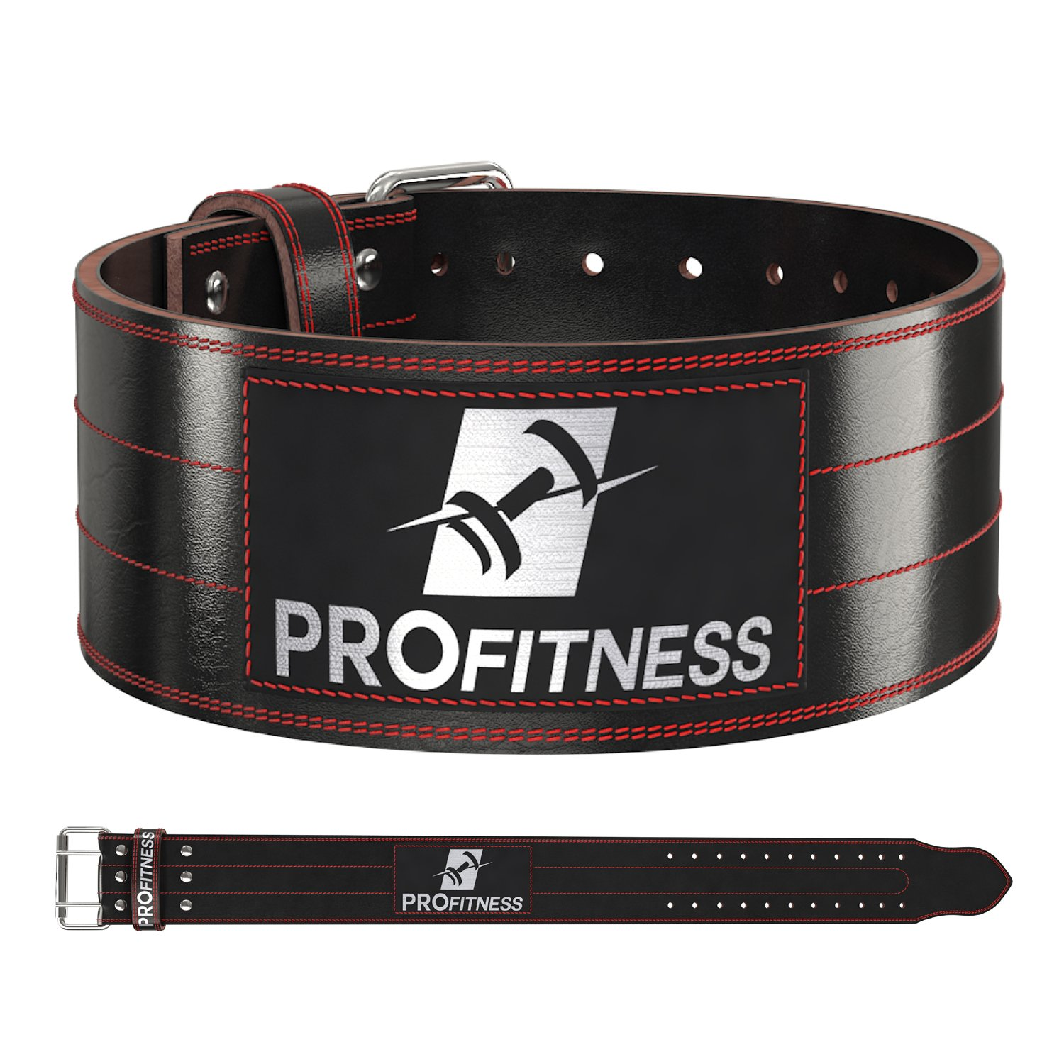 ProFitness Dark Leather Workout Belt (4 Inches Wide) - Proper Weightlifting Form - Lower Back and Lumbar Support for Cross Training Exercises, Powerlifting Workouts, Deadlifts (Black/Red, Small)