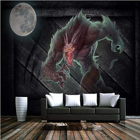 QBTE Juego de Mesa Retro Hombre Lobo Mata KTV Restaurante temático Herramientas Fondo Pared Papel Pintado Mural Foto personalizada-350cm(W)×250cm(H): Amazon.es: Hogar