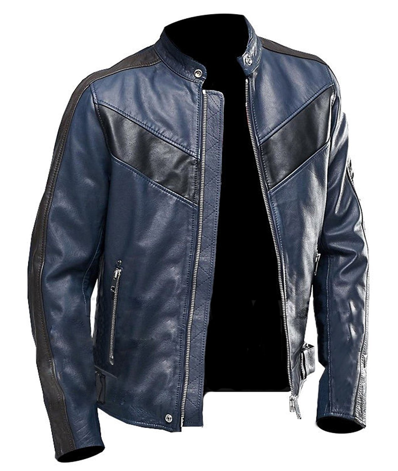Navy Blue Cafe Racer Brown Vintage Biker Classic Motorcycle Brown Real Leather Jacket (Large - Jacket Chest 48'') by Fashions Maniac