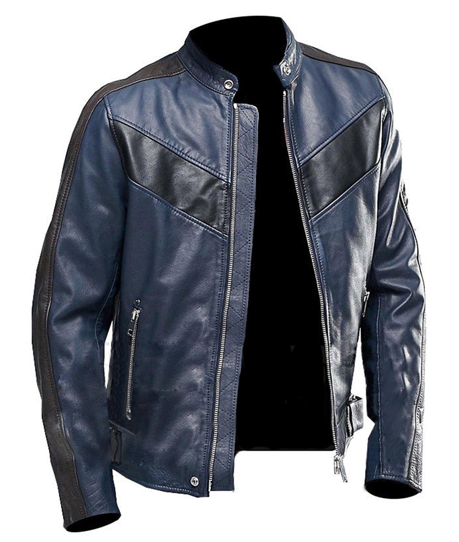 Navy Blue Cafe Racer Brown Vintage Biker Classic Motorcycle Brown Real Leather Jacket (Large - Jacket Chest 48'')