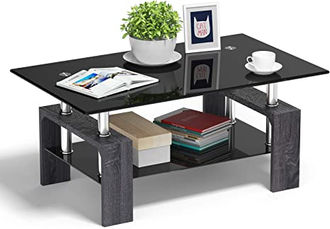 Amazon Com Tangkula Rectangle Glass Coffee Table Clear Coffee Table With Lower Shelf Wooden Legs Center Tables For Living Room Black Kitchen Dining